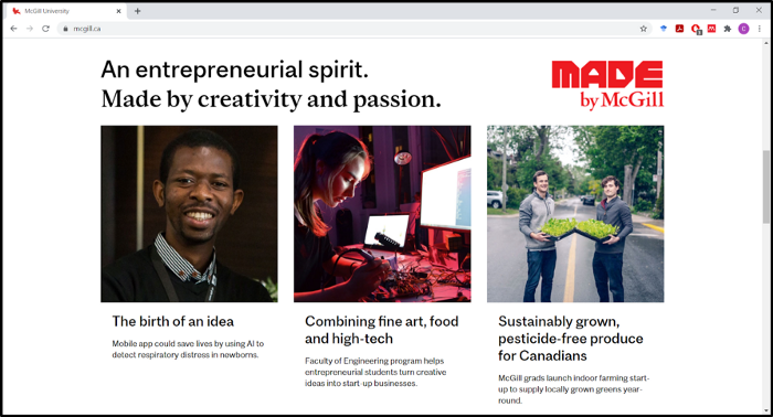The birth of an idea published on the McGill University Homepage